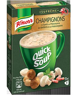 KNORR Suprême quick soup Champignons aux lardons et au mascarpone emballage 3 x 1 portion -