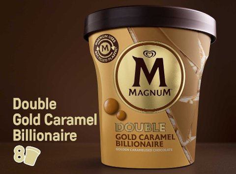 Magnum Double Gold Caramel Billionaire  glace pot 440 ml -