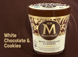 Magnum White Chocolate & Cookies glace pot 440 ml -