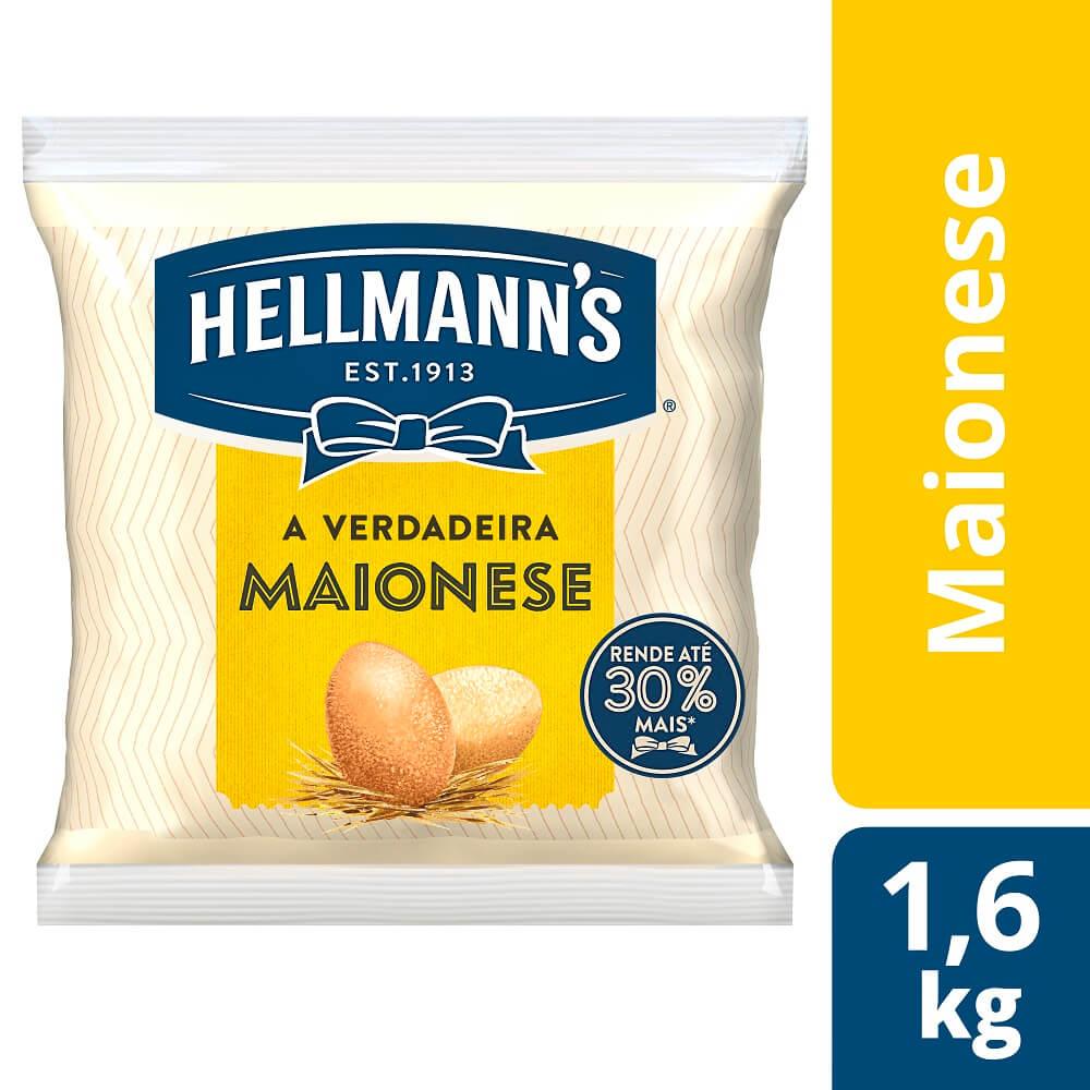 Maionese Hellmann's Saco 1,6 kg - Hellmann's dá um sabor especial aos seus pratos e melhora a imagem do seu restaurante.