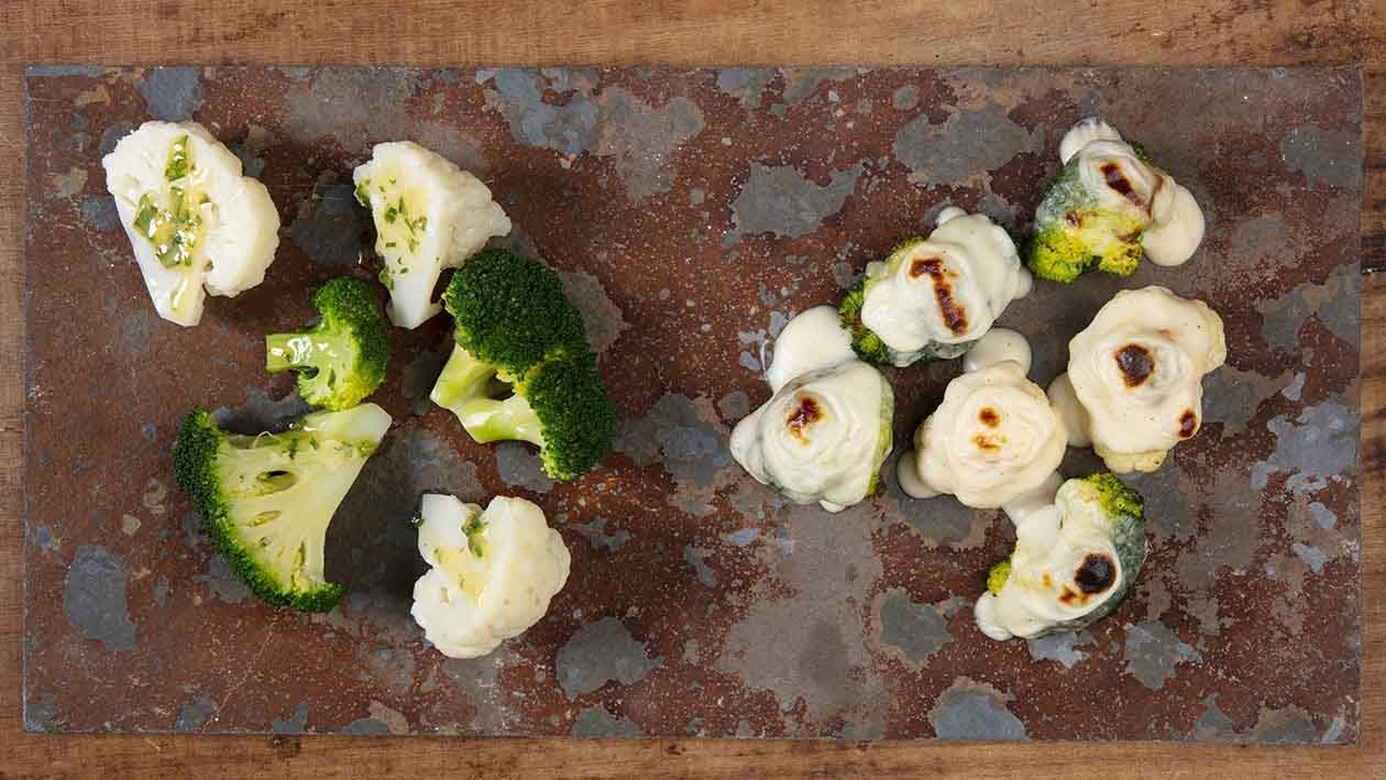 Bróculos e couve-flor gratinados