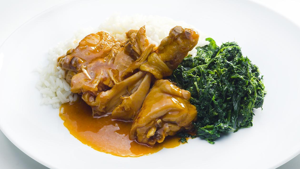 Coxas de Frango estufado com arroz branco e espinafres