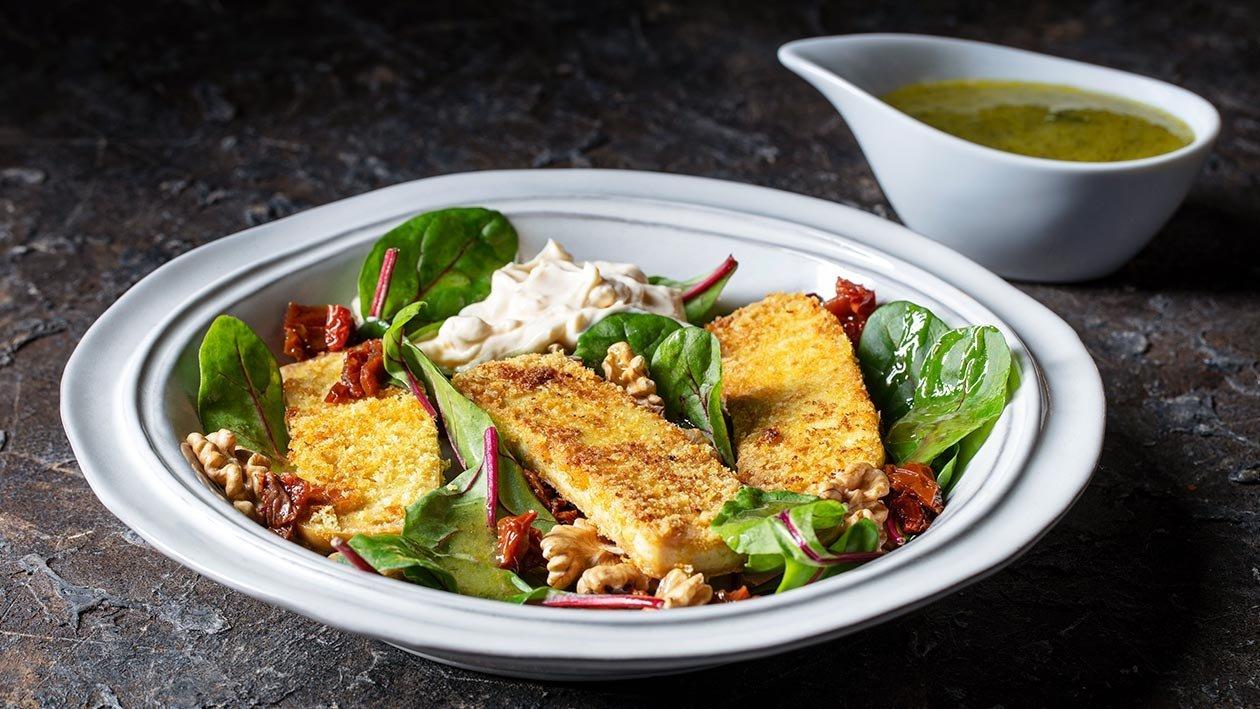 Filet de Tofu panado com Salada de Acelgas