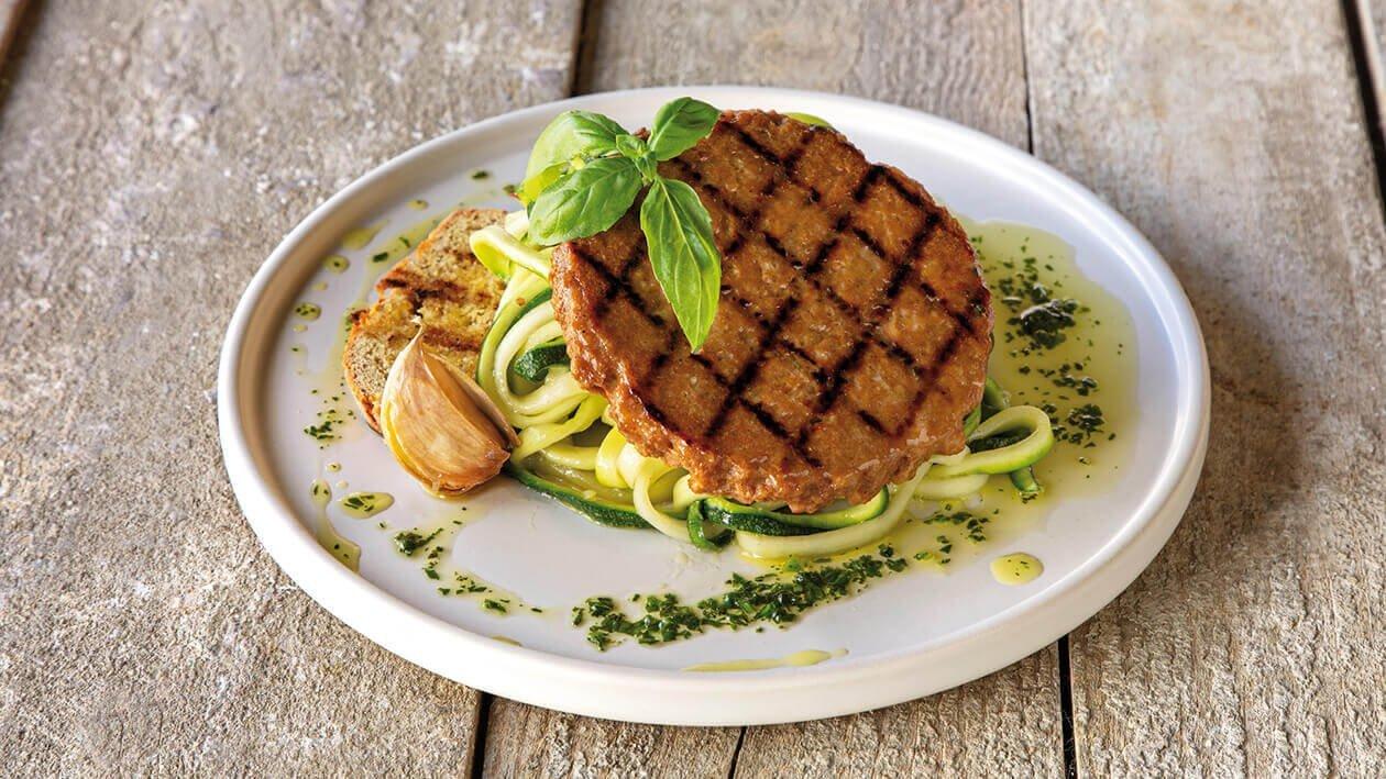 Hambúrguer com Esparguete de Curgete aromatizada