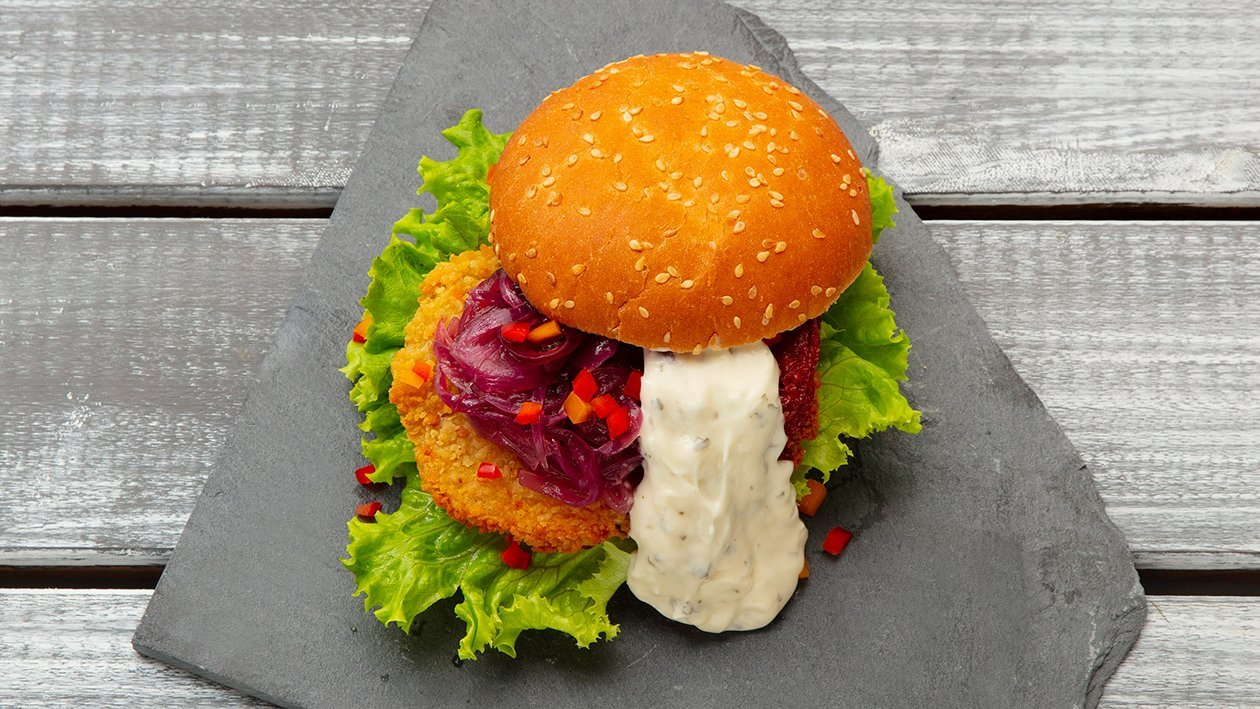 Hambúrguer Vegetal com Molho Tártaro