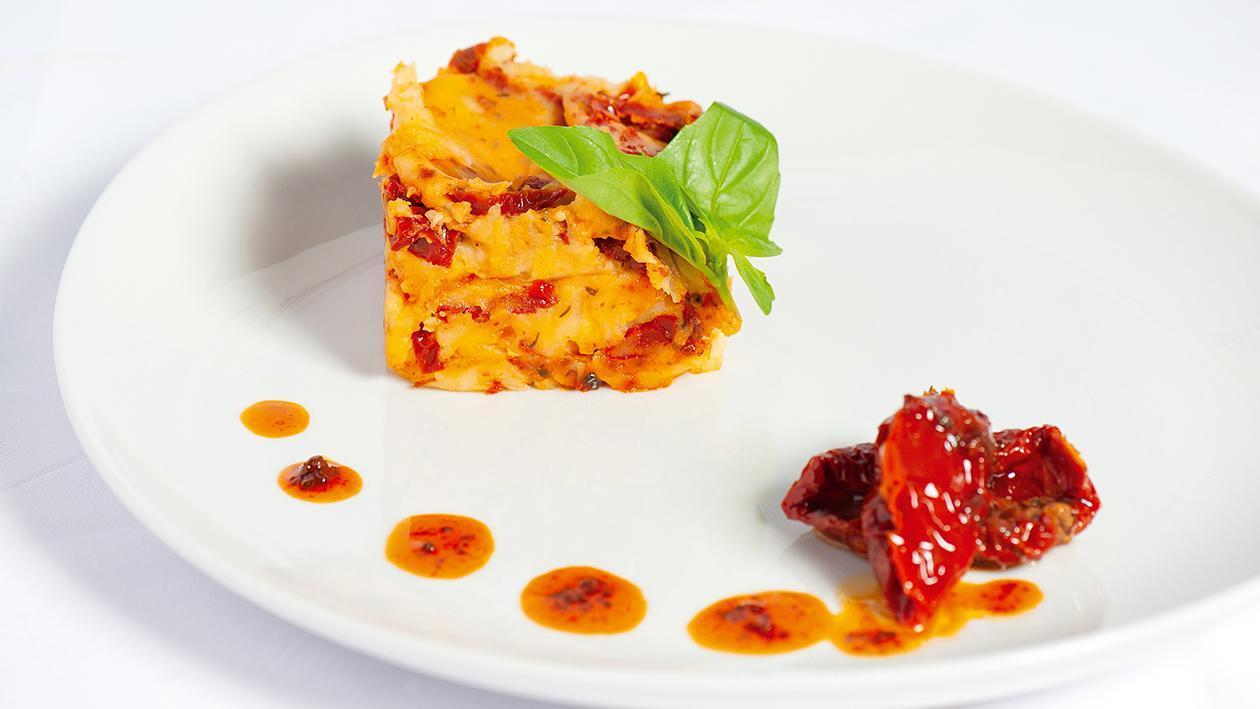 Puré com Tomate seco e Manjericão fresco