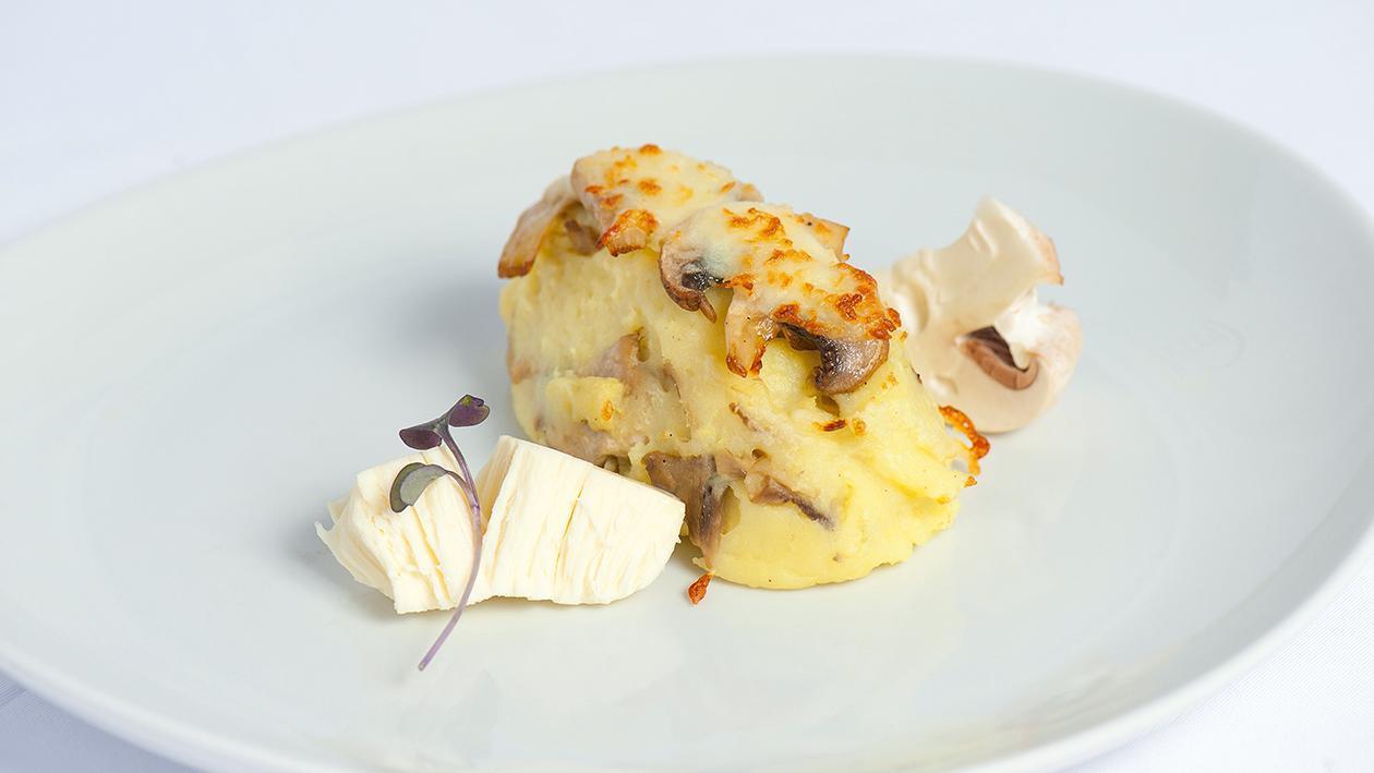Puré de Batata com Cogumelo de Paris e Queijo de Cabra
