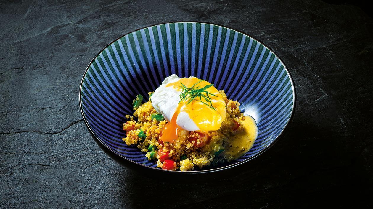 Quinoa com Legumes Asiáticos e Ovo Escalfado