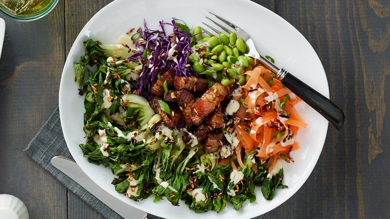 Salada Bok Choy Grelhado e Bacon