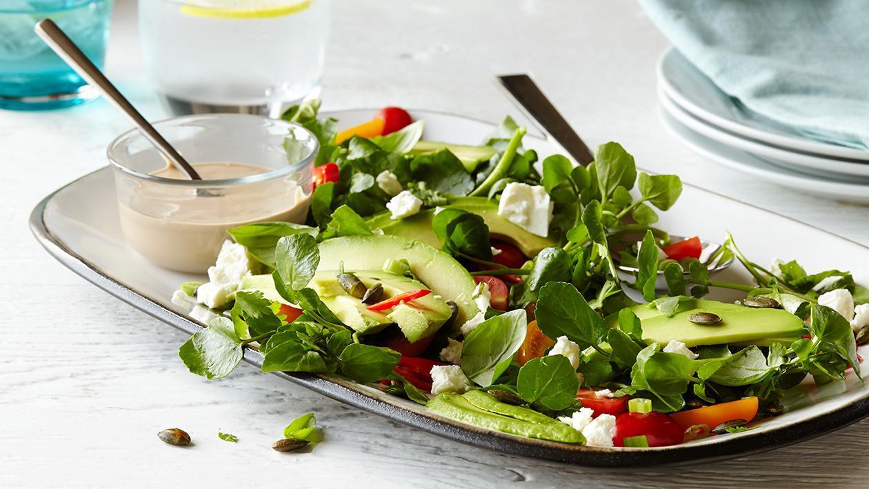 Salada de Agrião e Abacate com Quejo de Cabra