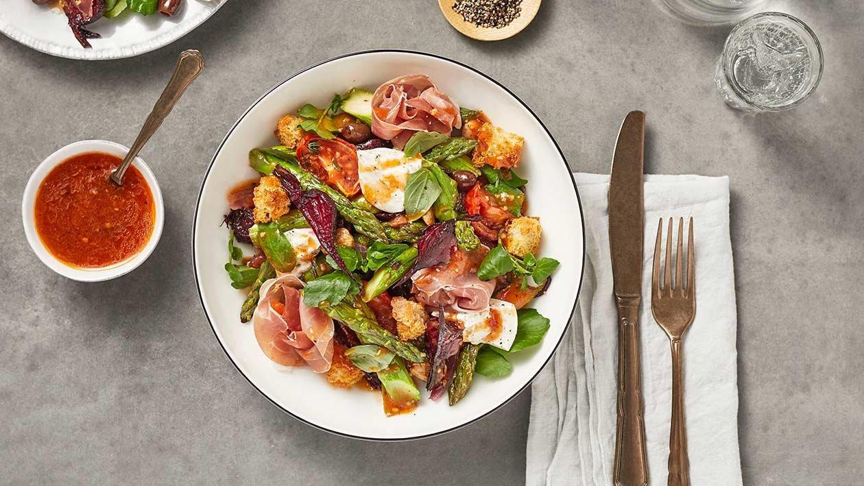 Salada de Espargos com beterraba e presunto
