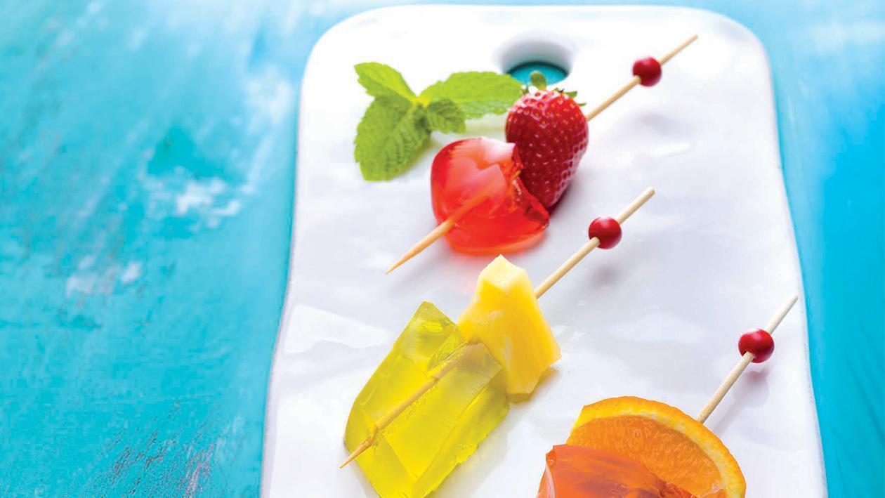 Trio de fruta em gelatina