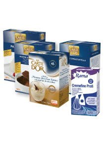 12 X Rama Cremefine 31% multiple aplicatii + 4 x Deserturi (Carte D'or Mousse Ciocolata alba, Carte D'or Mousse cu Ciocolata, Carte D'or Panna Cotta, Carte D'or Mousse Stracciatella) -