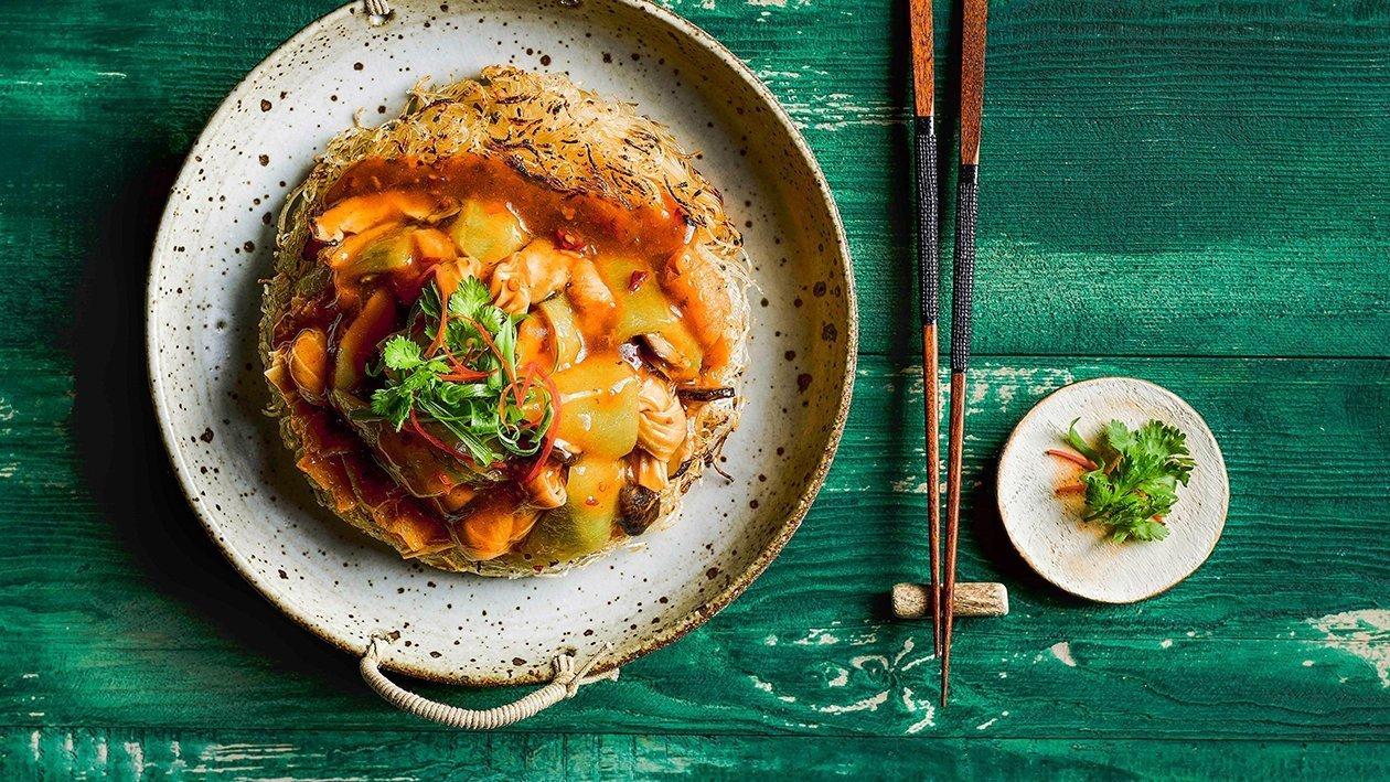 Clatite din fidea cu lufa, tofu si shiitake