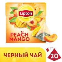 LIPTON черный чай в пирамидках Peach Mango (20шт)