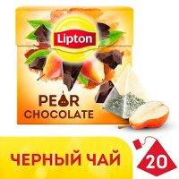 LIPTON черный чай в пирамидках Pear Chocolate (20шт)