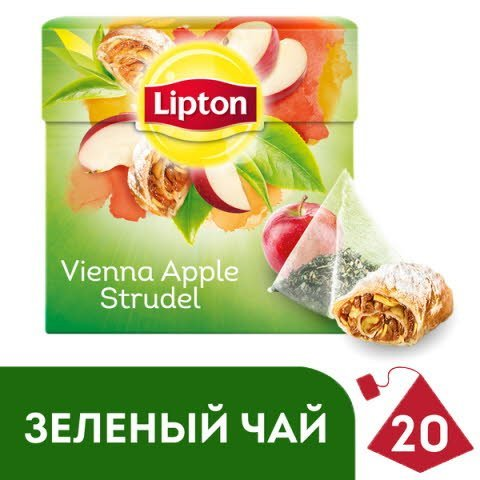LIPTON зеленый чай в пирамидках Vienna Apple Strudel (20шт) -