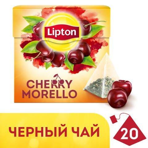 Lipton черный чай в пирамидках Cherry Morello Tea с кусочками вишни 20 шт