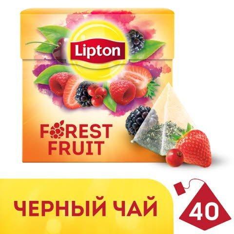LIPTON черный чай в пирамидках Forest Fruit (40шт) -
