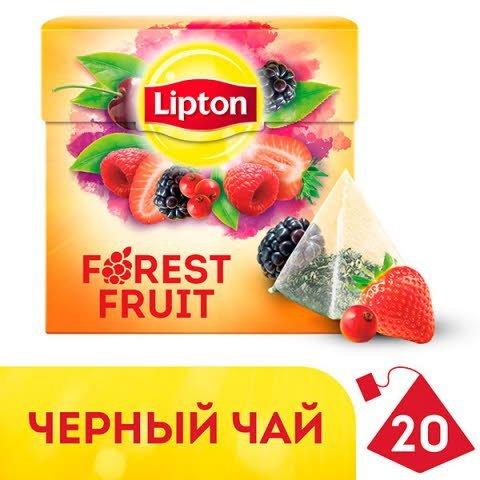 Lipton черный чай в пирамидках Forest Fruit Tea с кусочками ягод, 20 шт