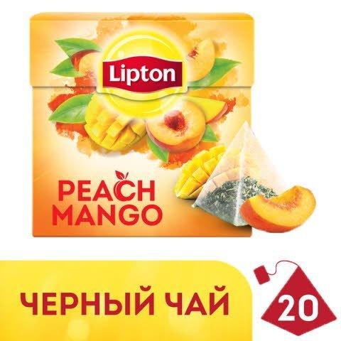 Lipton черный чай в пирамидках Peach Mango Tea с кусочками фруктов, 20 шт