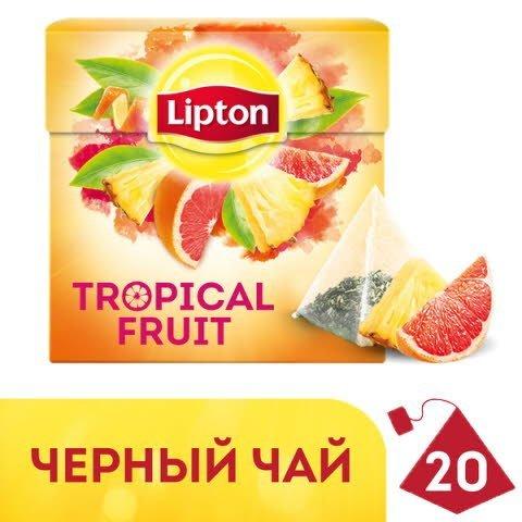 Lipton черный чай в пирамидках Tropical Fruit Tea с кусочками тропических фруктов, 20 шт