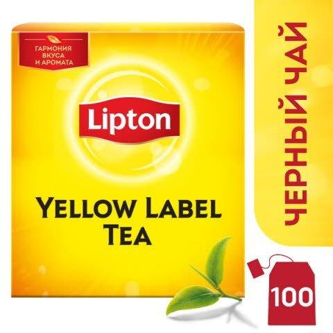 LIPTON черный чай в сашетах Yellow Label (100шт) -