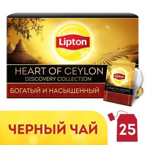Lipton Heart of Сeylon черный чай в индивидуальных конвертах, 25 шт