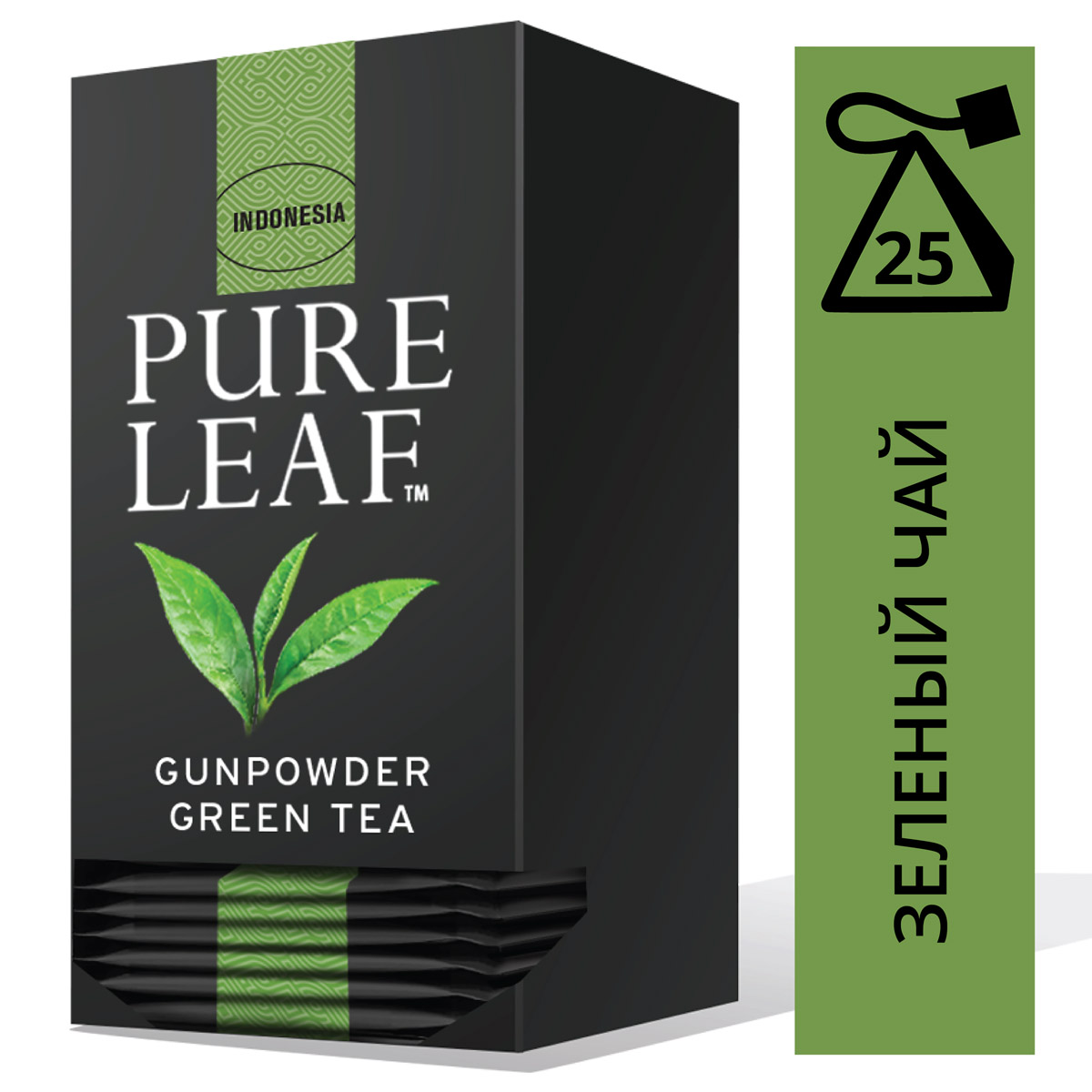 PURE LEAF зеленый чай в пакетиках Gunpowder (25шт) - Крупнолистовой чай
