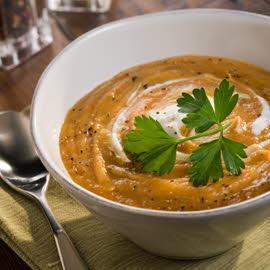 Суп-пюре из жаренных овощей с карри