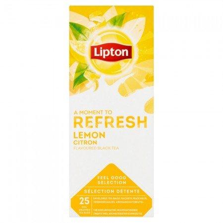 Lipton Lemon Tea Чай чорний зi шматочками лимону 25 пакетиків в сашетах -