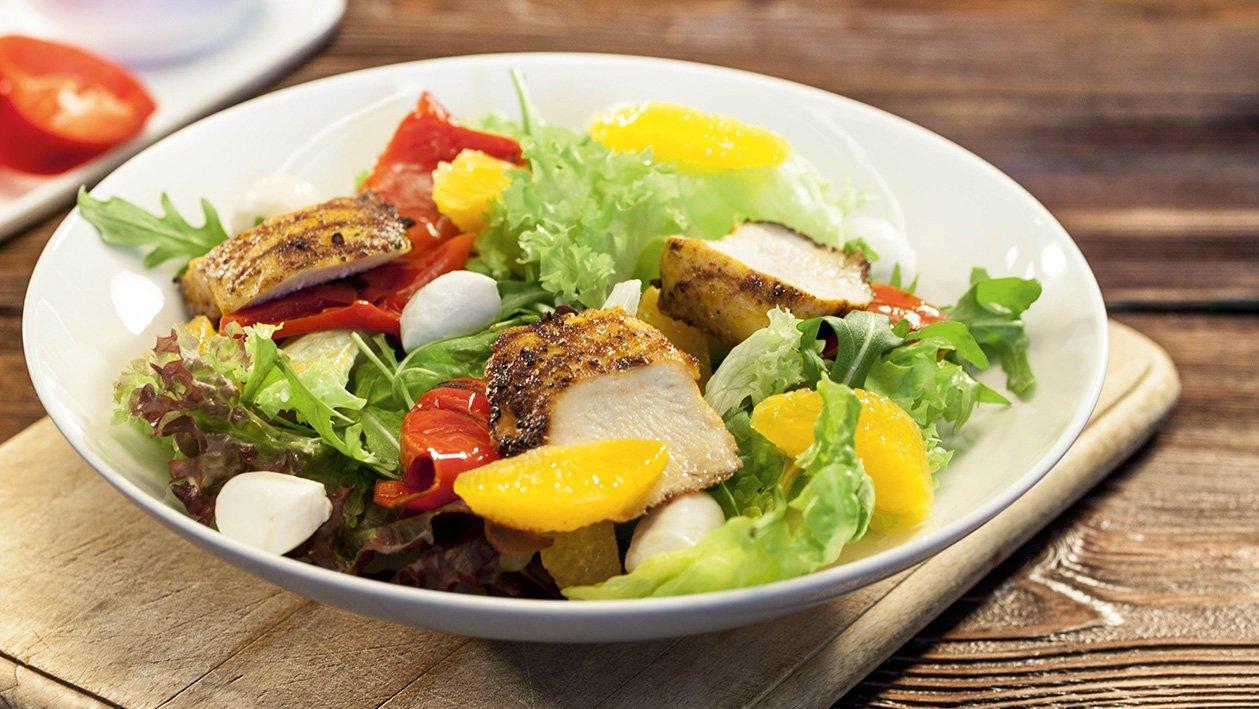 Салат зі паприкою-гриль та куркою у шафрані. – Рецепти