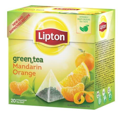 Lipton Green Tea Mandarin Orange, pyramid (utan kuvert) 12 x 20 påsar