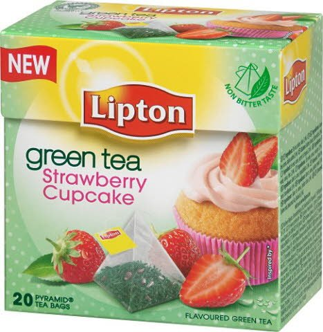 Lipton Green Tea Strawberry Cupcake, pyramid (utan kuvert) 12 x 20 påsar -