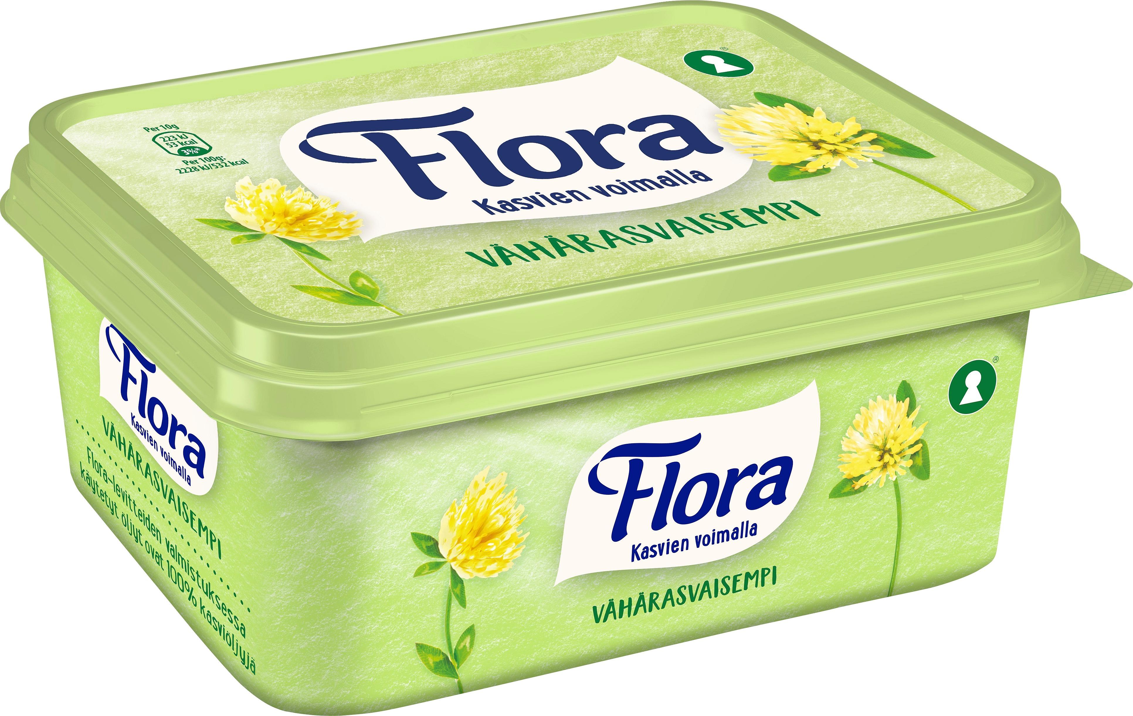 Flora Lätt Smörgåsmargarin 12 x 600 g  - Flora är bredbart direkt från kylen och går även att steka i och baka med.