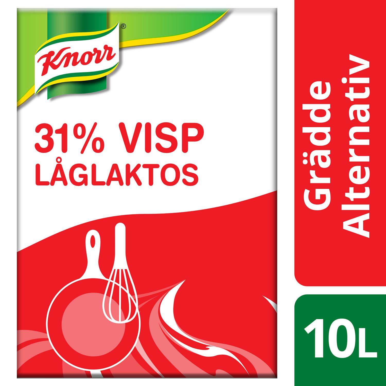 Knorr Visp 31%, Låglaktos 10 lit - Knorr Visp 31 % är ett gräddalternativ som håller sig stabil och luftig i alla kylda maträtter