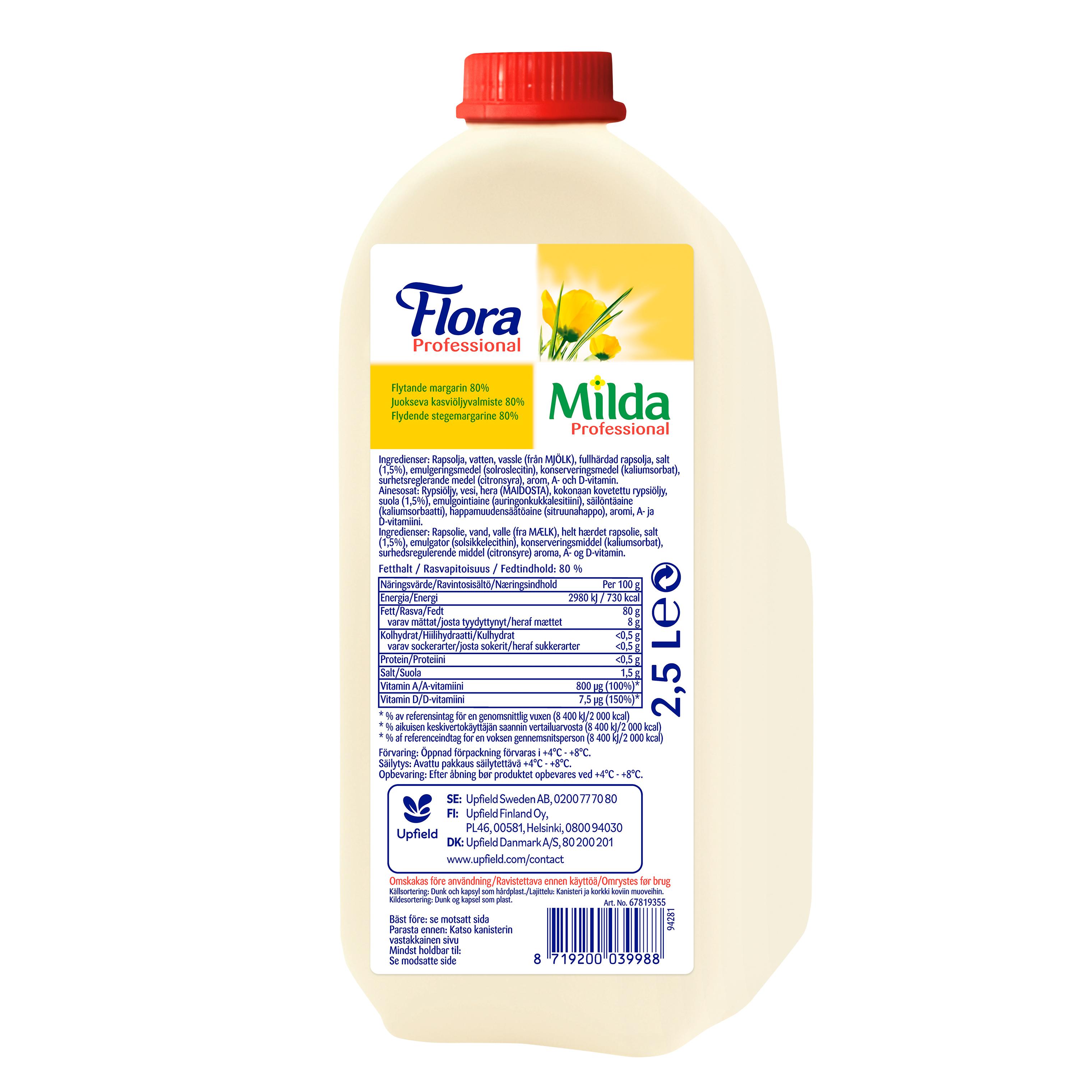 Milda Flytande Margarin 4 x 2,5 L  - Flora/Milda Flytande margarin 80% tål hög stektemperatur och ger en utmärkt stekyta.