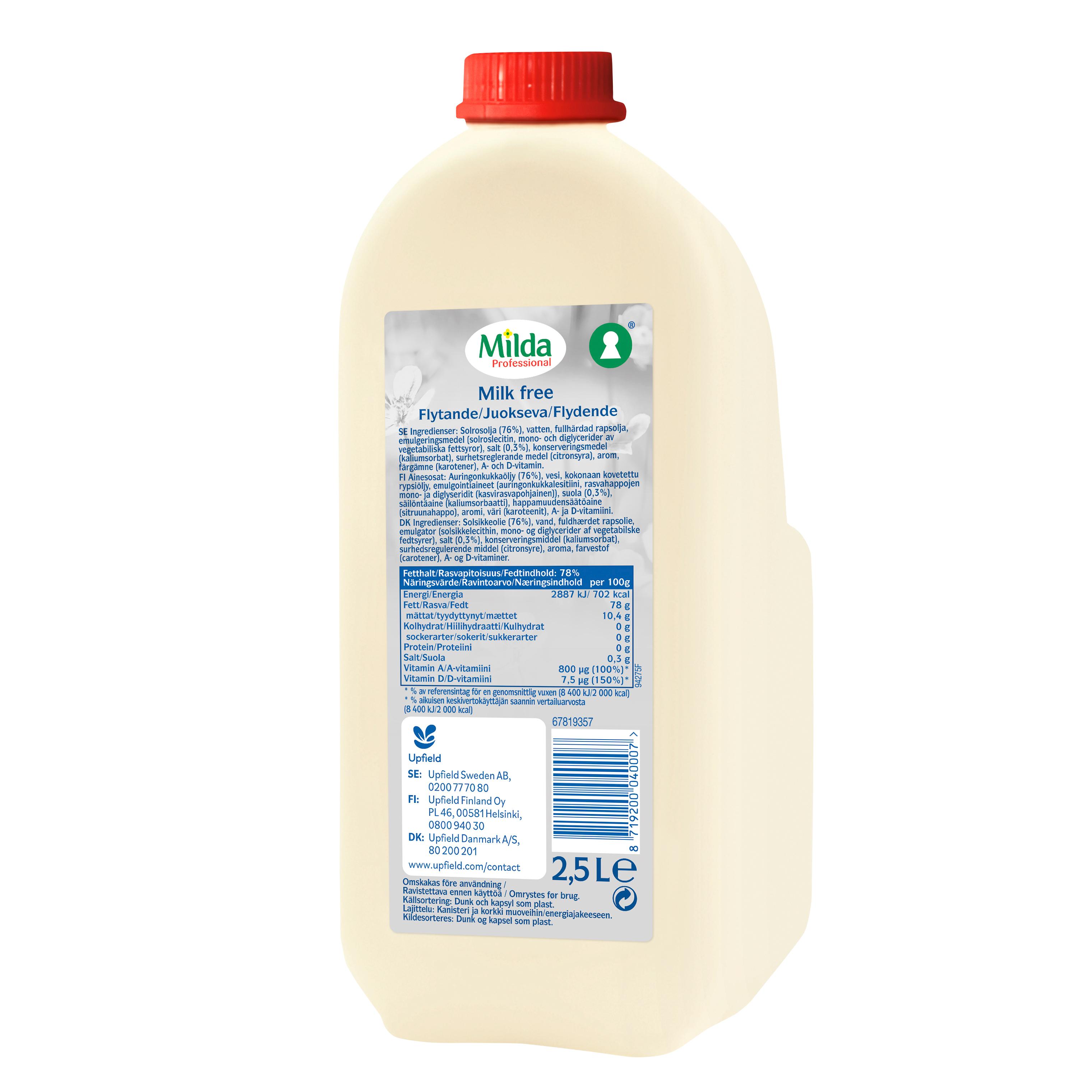 Milda Flytande Mjölkfritt Margarin 4 x 2,5 L