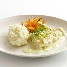 Citron och purjolöksbakad hokifilè med potatismos, klimatsmart mat