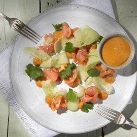 Gravlax med gurksallad och Ssamjang majonnäs
