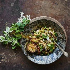 Kammutvete pilaff med stekt kyckling