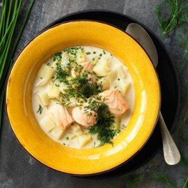Krämig fisksoppa med potatis och senap, klimatsmart mat