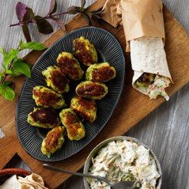 Wrap med sojabönor potatisfritters och coleslaw - klimatsmart mat