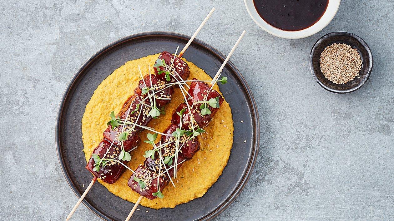 BBQ-sötpotatis och rökt morotspuré