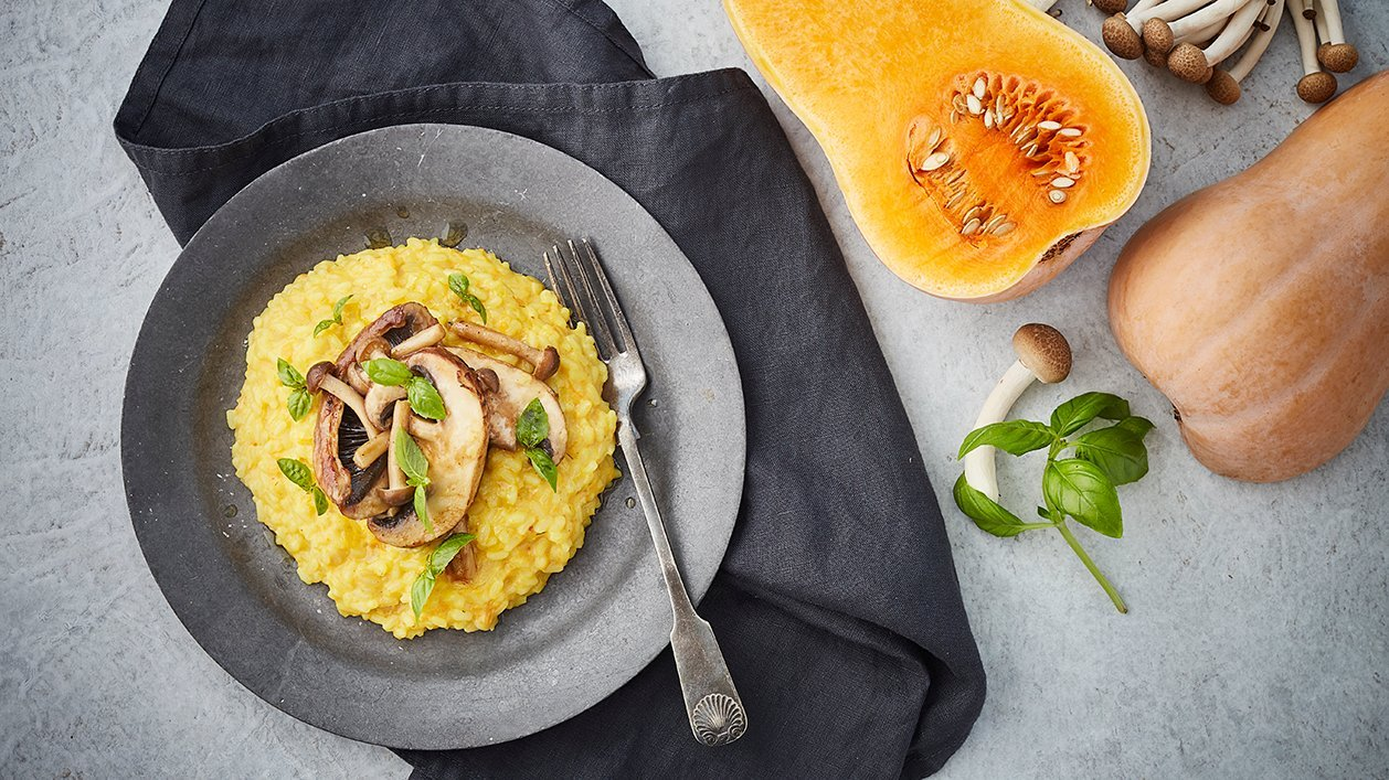 Butternutsquash-risotto med skogssvamp