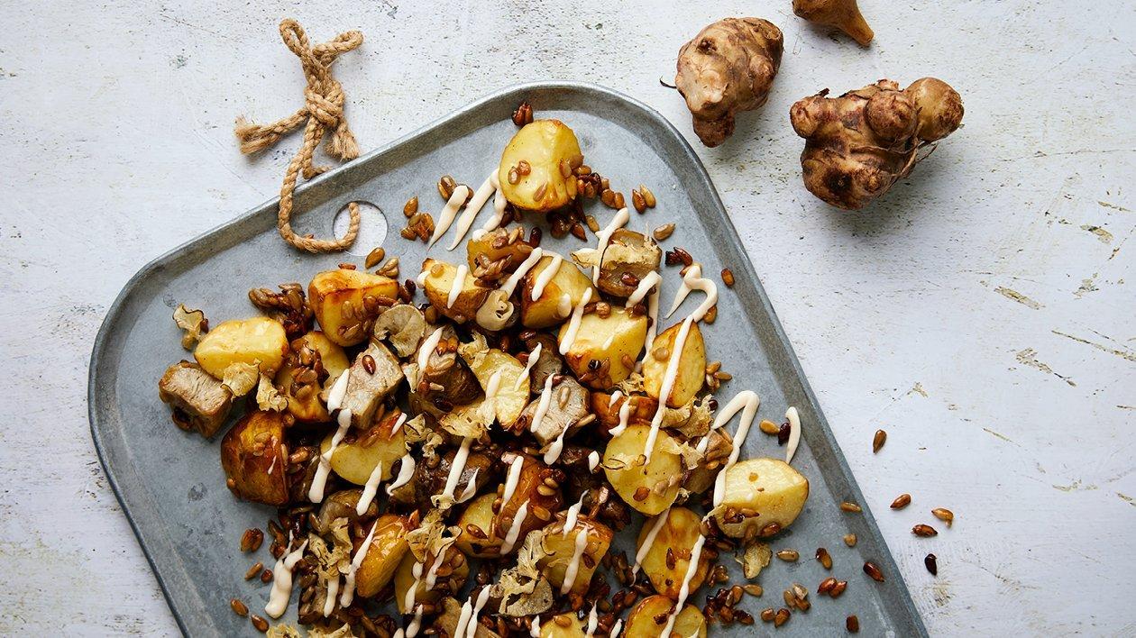 Jordärtskocks-potatissallad med rökig majonnäs