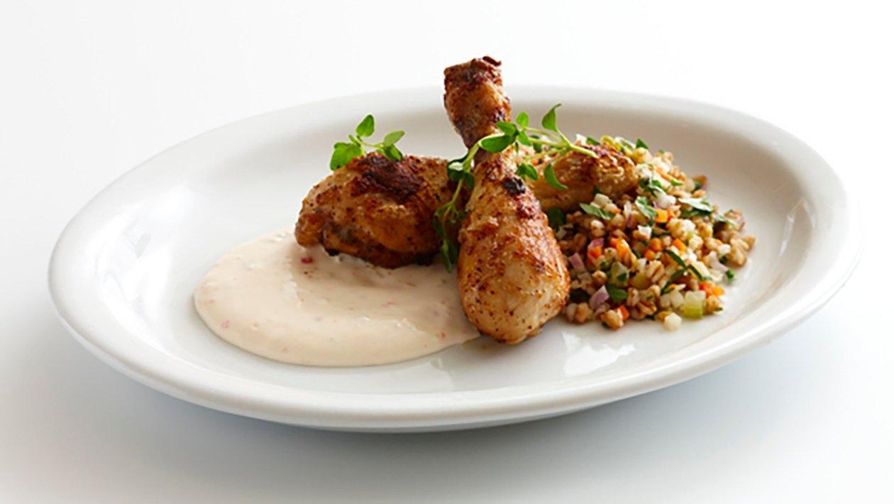 Kyckling drumsticks med matvete och chilidipp, klimatsmart mat
