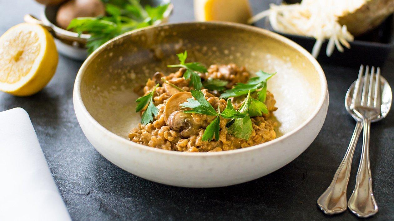 Nordisk risotto på svamp och kamutvete