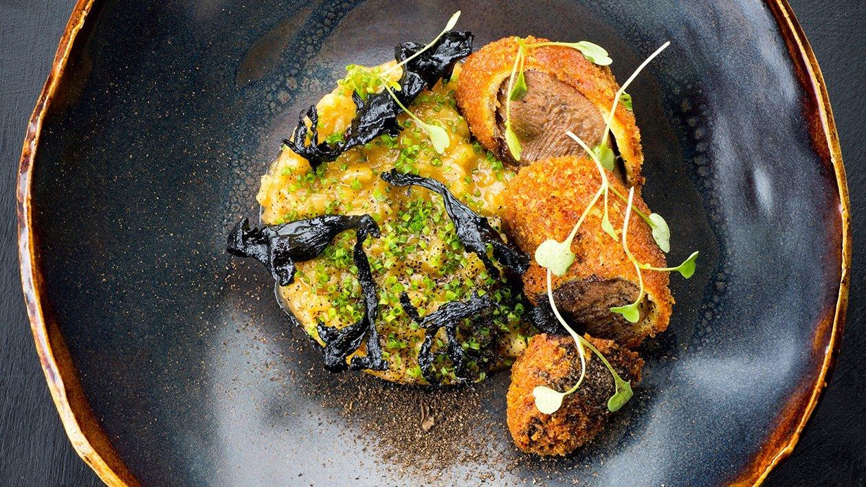 Parmesanrisotto med knaperstekt kalvtunga