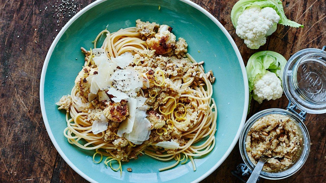 Rostad blomkålspesto med pasta